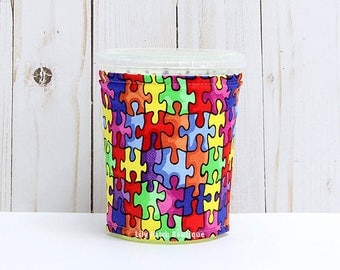 Small Autism Awareness Coffee Cozy, Iced Coffee Cozy, Cup Sleeve, Eco Friendly, Insulated Cup Sleeve,