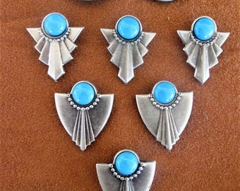 Southwestern Silver Button Covers Set of 8 Turquoise Cabachon Shirt Accessory Vintage Unisex Jewelry Gift