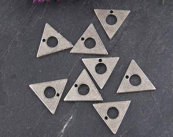 Silver, Mini Triangle Charms, Triangle Dangles, Geometric Charms, 8 pieces // SCh-158