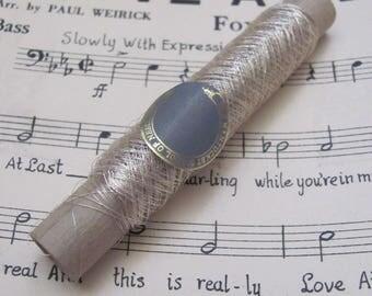 Thread Spool Antique Early Century Silver Real Metal Fine Thread Cardboard Spool Embroidery Needlery