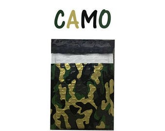 "100 Pack 6x10""  Camouflage Design Poly Bubble Mailers Self-Seal Business Envelopes Standard Mailer Bags Size #0 Protective Shipping Camo Bag"