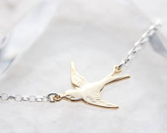Bird Necklace. Real 925 Sterling Silver Flying and real Sterling silver chain, Small Silver Bird Option, Dainty Jewelry, Bird Necklace