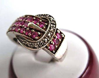 Ruby Sterling Ring, Wide Buckle Band, 20 Pave Rubies Rosy Deep Pink Rounds, 5 Grams, Size 7, July Birthstone