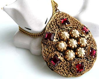 Red Stones Czech Pendant, Deep Garnet Glass Prongset Squares, Brass Mesh Filigree, Faux Pearls Flower Clusters, 24 Inch 14k Goldfilled Chain