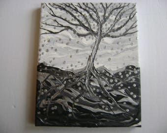 Hivernal - Original Acrylic Painting Canvas - 8 x 10