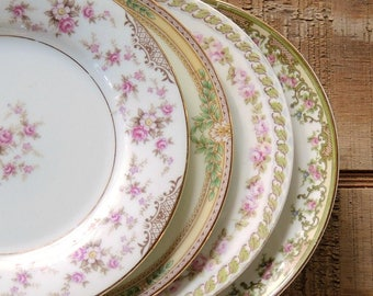 Mismatched Vintage Bread and Butter Plates Set of 4 Noritake Wedding Plates Bridesmaid Luncheon Tea Party Plates