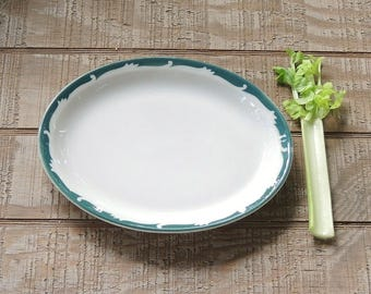 "Syracuse Wintergreen 11"" Oval Serving Platter with Green Trim Heavy Restaurant Ware"