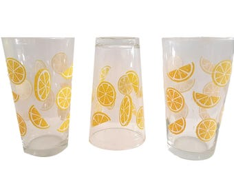S/3 Vintage Libbey Tumblers / Clear Glass / Lemon Wedges / Lemon Slices