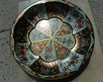 Tin bowl by Daher in brown and white florals