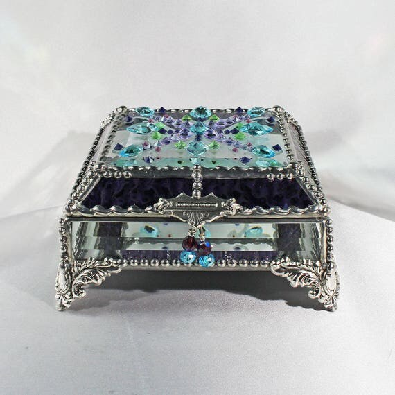 Jewel Encrusted Treasure Box -5x5 Confetti