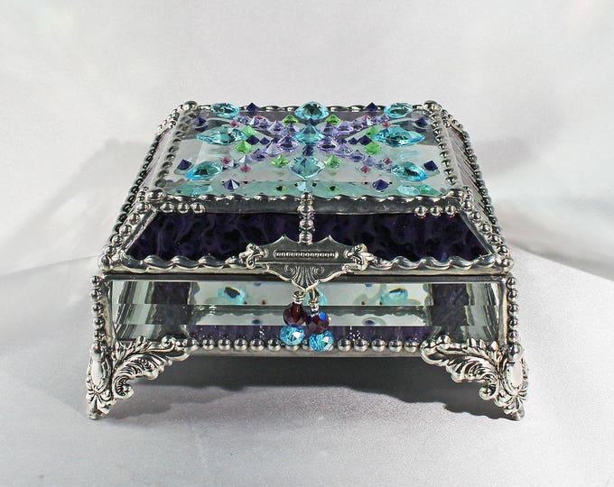 Jewel Encrusted Treasure Box -5x5 Confetti