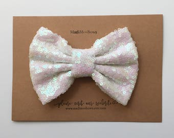 Sequin Bows 5 inches white