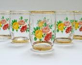 Set of 6 Vintage Kitsch Rose Design Drinking Glasses