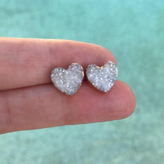 Heart Druzy Studs Earrings, Druzy Jewelry, Druzy Heart, Boho Jewelry