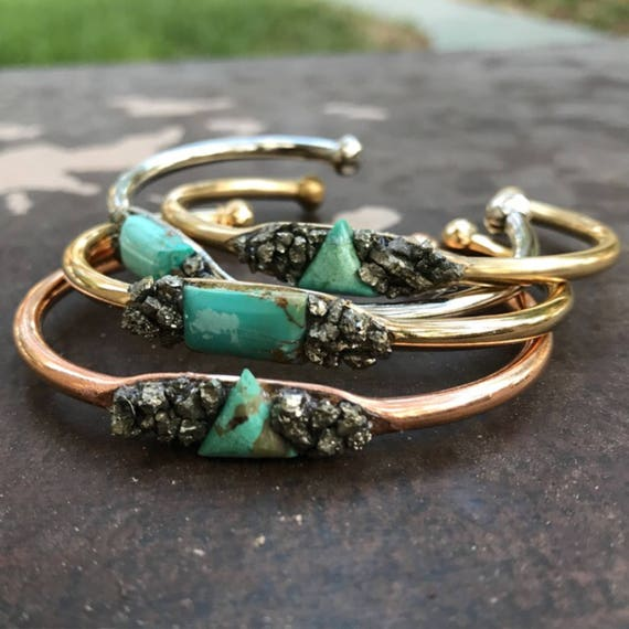 Genuine natural Turquoise Cuff Bracelet, Turquoise Jewelry, December Birthstone jewelry, Pyrite Bracelet, Pyrite jewelry, boho jewelry