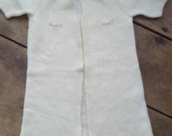 Antique handmade baby sweater , handmade baby girl sweater , baby girl clothes , vintage baby sweater