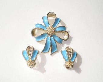 Vintage Earrings and Brooch Set -  Blue Ribbon Flower Jewelry - Clip On and Pin Pendant