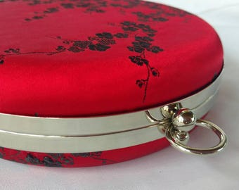 Red cherry blossoms Circle minaudiere bag/Bridal shower/  evening wedding purse/ Gift for her/Personalized/ Red asian Cocktail clutch