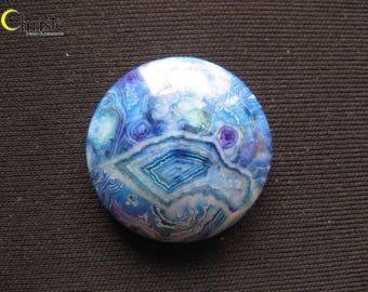 Blue (Dyed) Banded Agate Round Cabochon 28x8mm