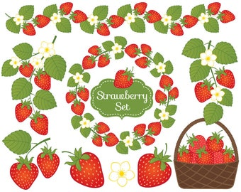 70% OFF SALE Strawberry Clipart - Vector Strawberry Clipart, Berry Clipart, Strawberries Clipart, Vector Berry Clipart, Strawberry Clip Art
