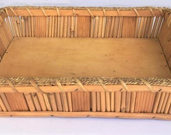 """Vintage Wood Tray, twine wrapped bamboo tray 17"""" long, farmhouse table centerpiece, boho patio tray natural elements home decor"""