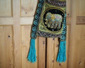 Embellished &  Embroidered Velvet Elephant Bag