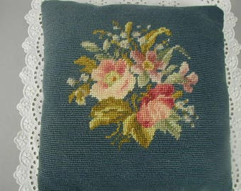 "Vintage Wool Needlepoint Pillow, Flower Bouquet, Pinks and Blue, Toss Pillow, Occasional Pillow, Hand Made, 11 1/2"" Square"