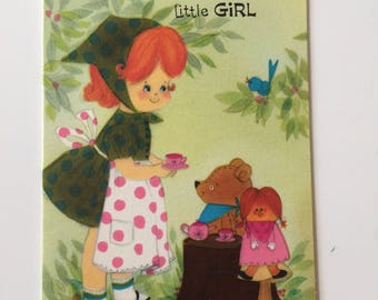 Little Girl Birthday Card / Vintage Birthday Little Girl & Doll Card Signed 1960's Great for Mixed Media, Collage, Journal, etc.