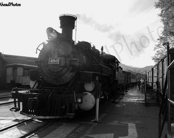 8 x 10 matted photo black and white train photograph Durango Silverton Line