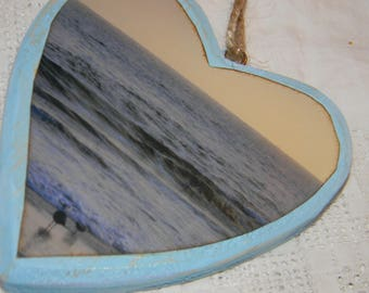 wooden photo heart Christmas ornament beach sunset photograph