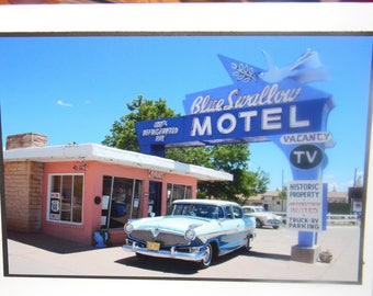 photo card, Blue Swallow Motel, Route 66 photograph