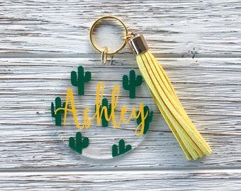 Cacti Name Tassel Keychain-Cactus Keychain-Custom Keychain-Vinyl-Name Decal-Cactus Sticker-Tassel Keychain-Cheap Custom Gift-Large Tassel