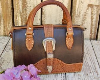 Vintage Forge Ten West Tooled leather satchel handbag. Forge Ten hand made geniune leather purse. 1980s leather handbag