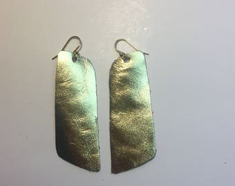 Oblong Gold Genuine Leather and 14k Gold Earrings