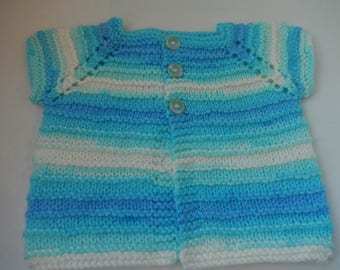 hand knitted baby cardigan / baby boy sweater / blue and white baby sweater / 0-3 month cardigan