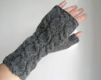 Alpaca fingerless gloves dark grey