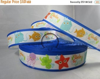 Sea creatures Ribbon in Blue Grosgrain Ribbon by the Yard 1 Inch Wide RN16011