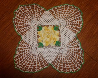 Vintage Crocheted Doily  With Yellow Rose Center and Green Leaves