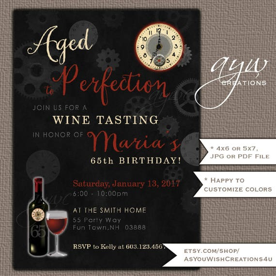 aged to perfection wine tasting party invitation printable