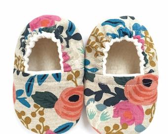 Linen Floral Soft Sole Vegan Baby Shoes