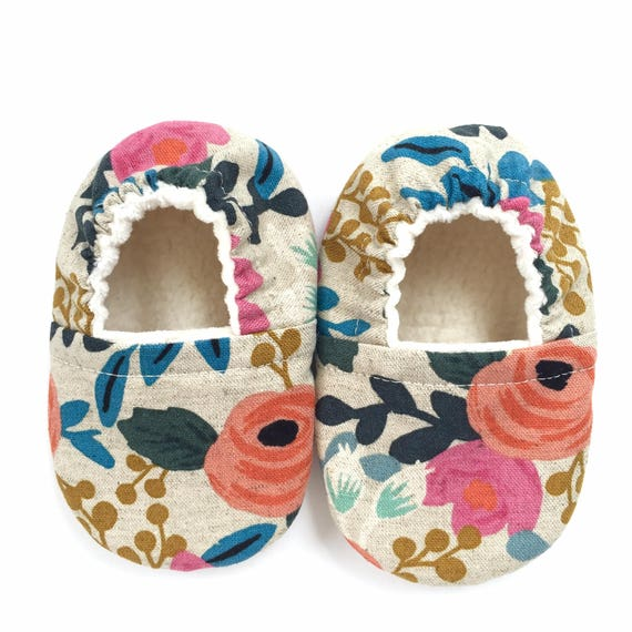 Linen Floral Soft Sole Vegan Baby Shoes