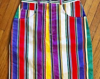 Amazing 90's High waisted Denim Striped Pencil Skirt
