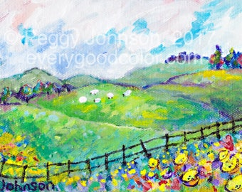 sheep buttercups  vivid colors impressionist landscape 5x7 stretched canvas Peggy Johnson everygoodcolor