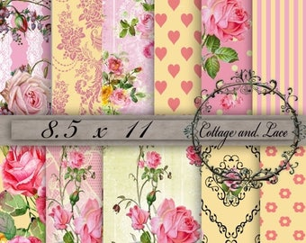 50% off Digital Background Paper, Yellow and Pink Shabby Chic, Pink and Yellow Scrapbook Paper, Digital Floral Paper, Decoupage, 8.5 x 11, P