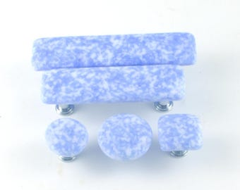 Glass Cabinet Knobs and Pulls, Blue and White, Door Handles, Furniture Hardware, Kitchen Renovation, Choice of Size and Hardware