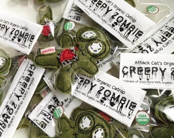 My Lil Zombie | Zombie Cat Toy | Organic Catnip | Halloween | Catnip Toy | Felt Cat Toy | Halloween Gift | Creepy Cat Toy