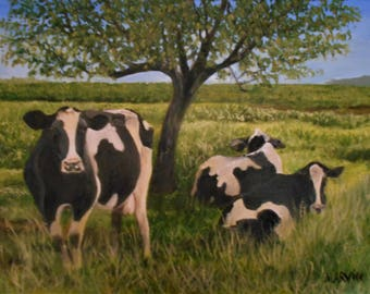 Original Oil Painting Pastoral Landscape with Cows 18 X 24 inches