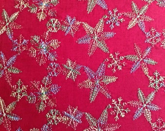 Embroidered Christmas fabric 2 and 3/4 yards x 42 inches