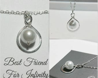 Best Friends For Infinity Necklace - Freshwater Coin Pearl, Sterling Silver Ring, Handmade Jewelry, Modern Necklace