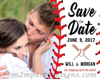 Baseball Wedding Announcement. Save the Date. Printable Invitations, Rehearsal Dinner Invitation
